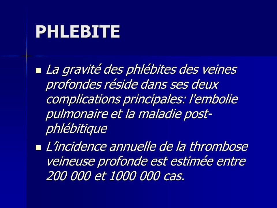 PHLEBITE La gravité des phlébites des veines profondes réside dans ses deux complications principales: l'embolie pulmonaire et la maladie post- phlébi