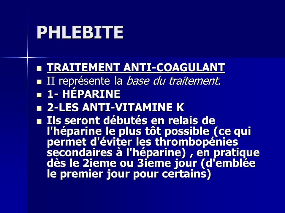 PHLEBITE TRAITEMENT ANTI-COAGULANT TRAITEMENT ANTI-COAGULANT II représente la base du traitement. II représente la base du traitement. 1- HÉPARINE 1-