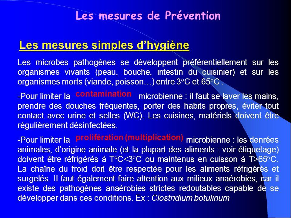 Les mesures de Prévention Les mesures simples dhygiène Les microbes pathogènes se développent préférentiellement sur les organismes vivants (peau, bou