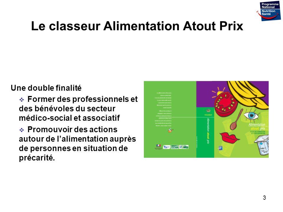 3 Le classeur Alimentation Atout Prix Une double finalité Former des professionnels et des bénévoles du secteur médico-social et associatif Promouvoir