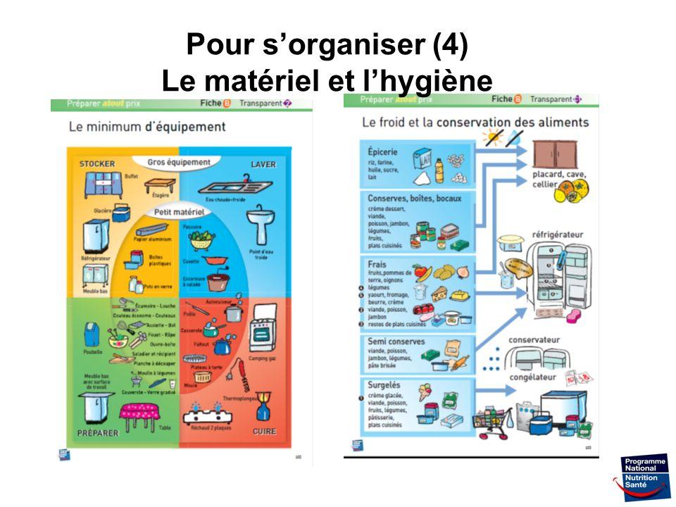 31 Pour sorganiser (4) Le matériel et lhygiène