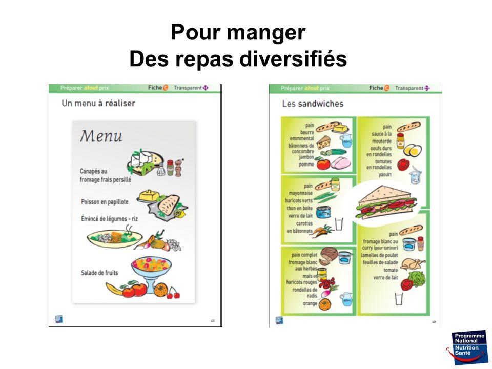 36 Pour manger Des repas diversifiés