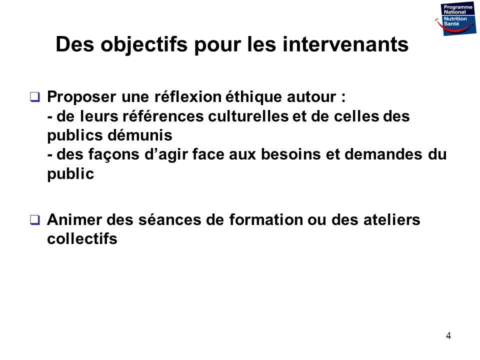 4 Des objectifs pour les intervenants Proposer une réflexion éthique autour : - de leurs références culturelles et de celles des publics démunis - des