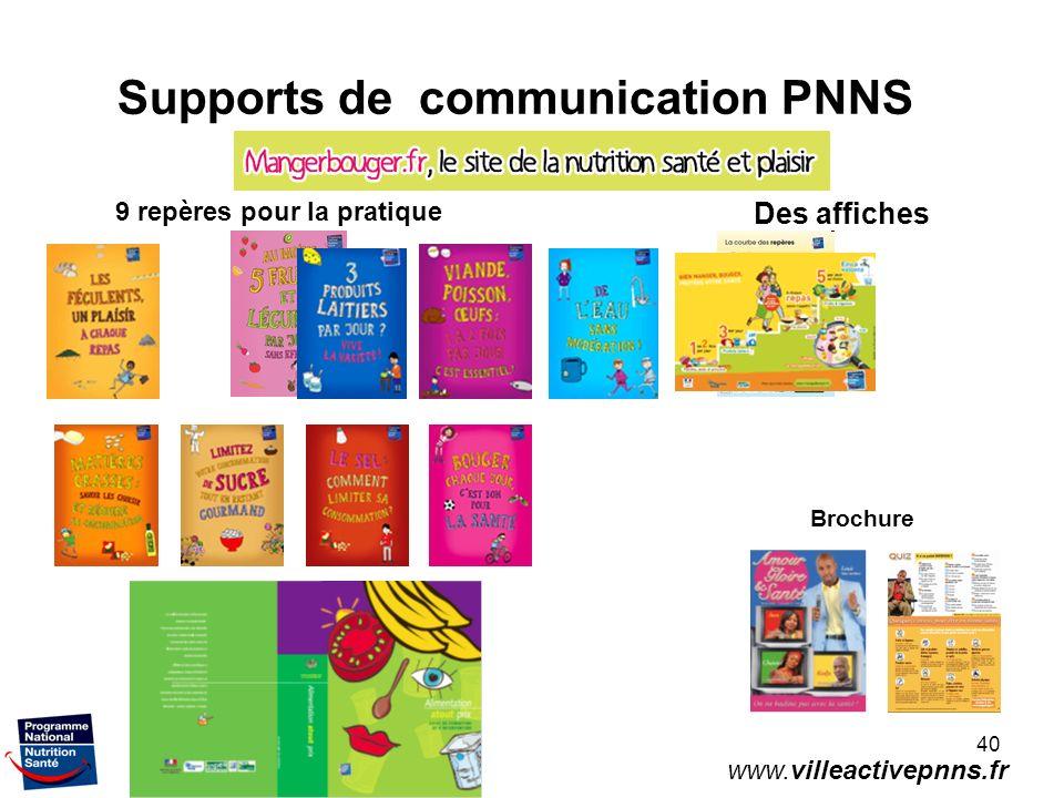 40 Supports de communication PNNS 9 repères pour la pratique Des affiches www.villeactivepnns.fr Brochure