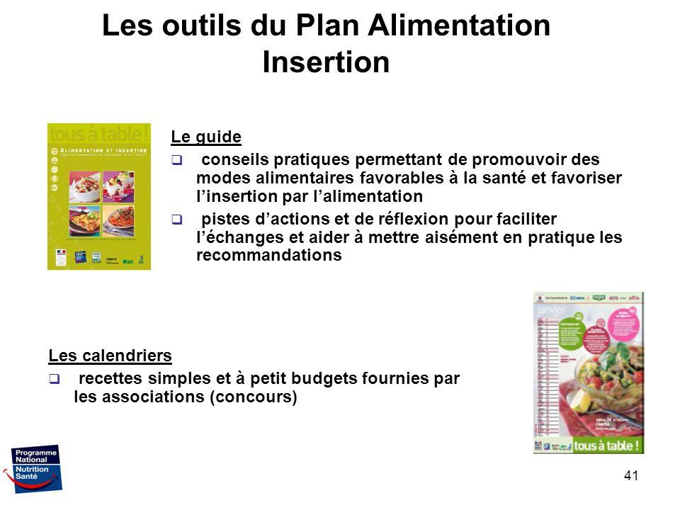 41 Les outils du Plan Alimentation Insertion Le guide conseils pratiques permettant de promouvoir des modes alimentaires favorables à la santé et favo