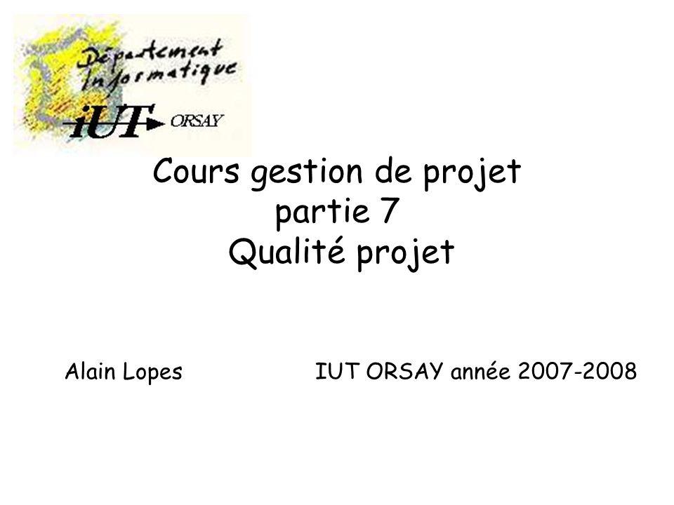 gestion projet 7Alain Lopes -IUT ORSAY - PARIS XI62 Secteurs clés (3) Niveau 4 : Maîtrisé –Gestion quantitative du processus –Gestion de la qualité logicielle Niveau 5 - Optimisé –Prévention des défauts –Gestion des changements technologiques –Gestion des changements du processus
