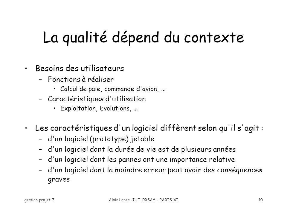 gestion projet 7Alain Lopes -IUT ORSAY - PARIS XI10 La qualité dépend du contexte Besoins des utilisateurs –Fonctions à réaliser Calcul de paie, comma
