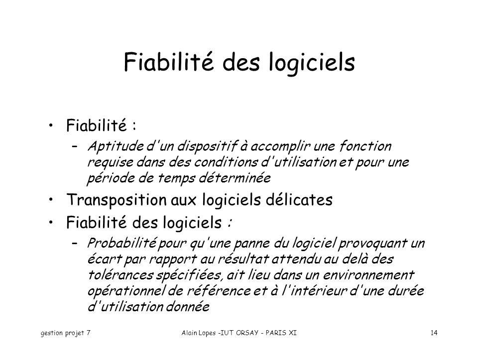 gestion projet 7Alain Lopes -IUT ORSAY - PARIS XI14 Fiabilité des logiciels Fiabilité : –Aptitude d'un dispositif à accomplir une fonction requise dan
