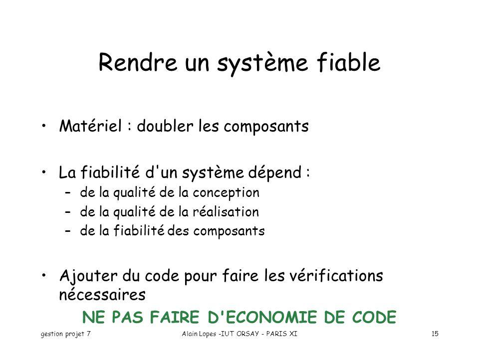 gestion projet 7Alain Lopes -IUT ORSAY - PARIS XI15 Rendre un système fiable Matériel : doubler les composants La fiabilité d'un système dépend : –de