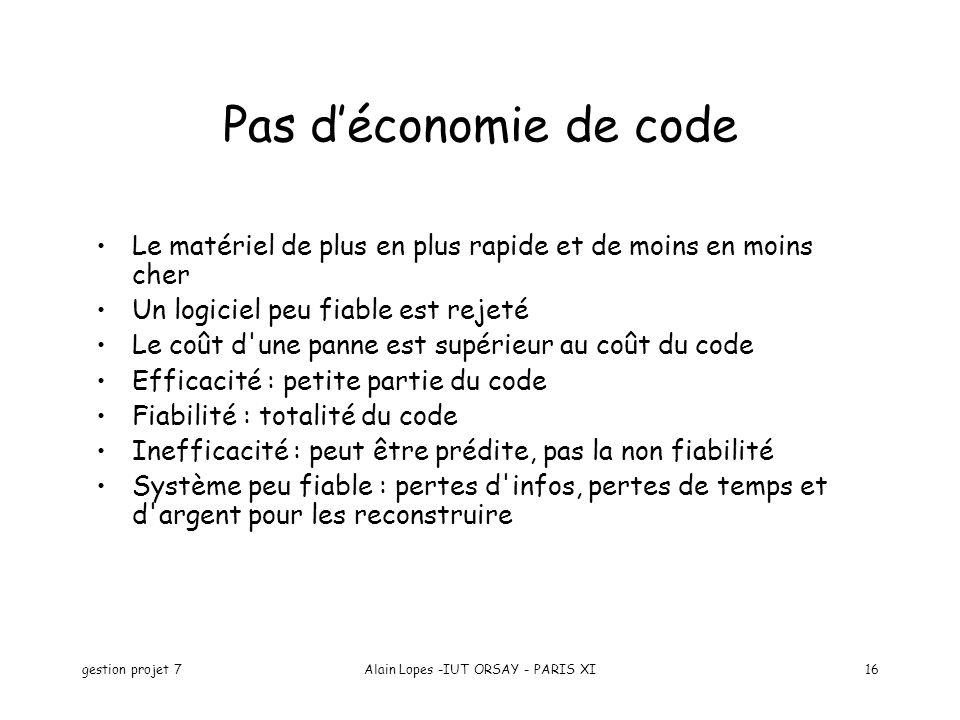 gestion projet 7Alain Lopes -IUT ORSAY - PARIS XI16 Pas déconomie de code Le matériel de plus en plus rapide et de moins en moins cher Un logiciel peu