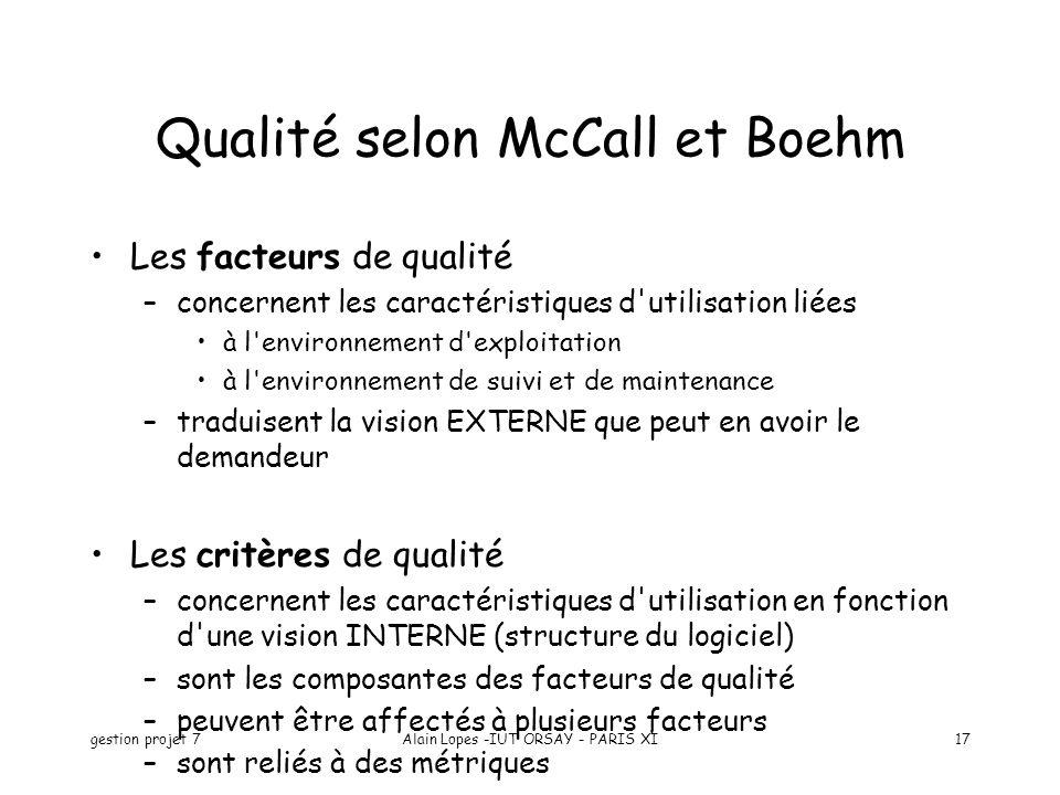 gestion projet 7Alain Lopes -IUT ORSAY - PARIS XI17 Qualité selon McCall et Boehm Les facteurs de qualité –concernent les caractéristiques d'utilisati