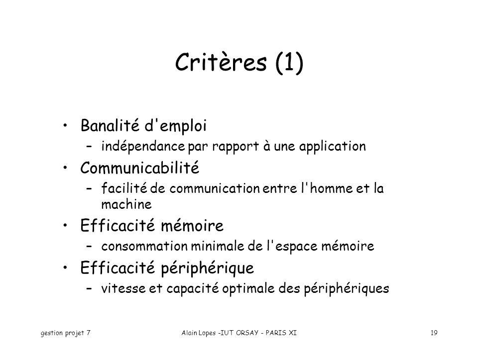gestion projet 7Alain Lopes -IUT ORSAY - PARIS XI19 Banalité d'emploi –indépendance par rapport à une application Communicabilité –facilité de communi