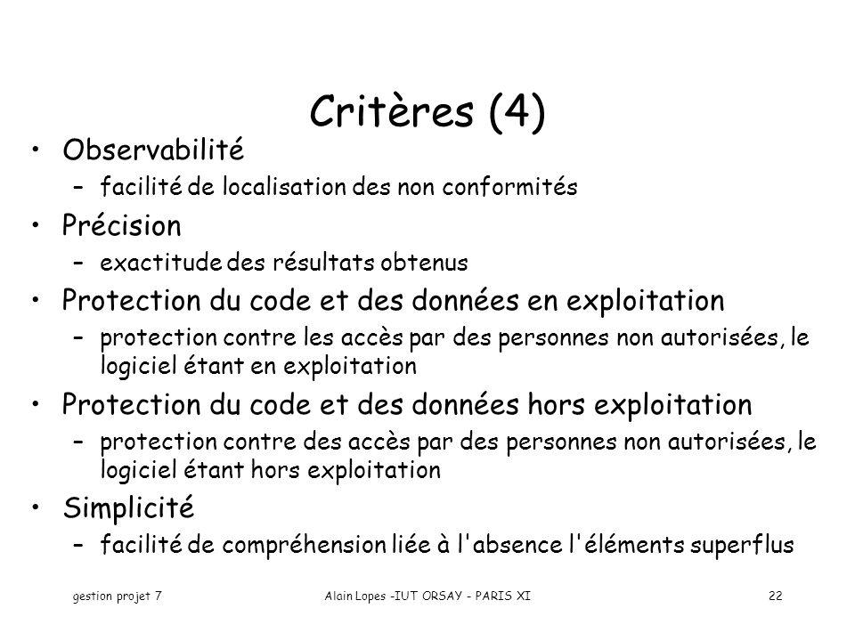 gestion projet 7Alain Lopes -IUT ORSAY - PARIS XI22 Observabilité –facilité de localisation des non conformités Précision –exactitude des résultats ob