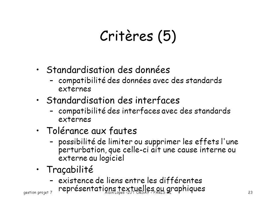 gestion projet 7Alain Lopes -IUT ORSAY - PARIS XI23 Critères (5) Standardisation des données –compatibilité des données avec des standards externes St