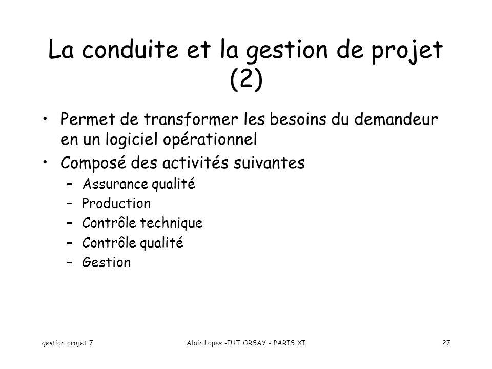 gestion projet 7Alain Lopes -IUT ORSAY - PARIS XI27 Permet de transformer les besoins du demandeur en un logiciel opérationnel Composé des activités s