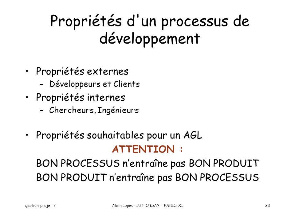 gestion projet 7Alain Lopes -IUT ORSAY - PARIS XI28 Propriétés externes –Développeurs et Clients Propriétés internes –Chercheurs, Ingénieurs Propriété