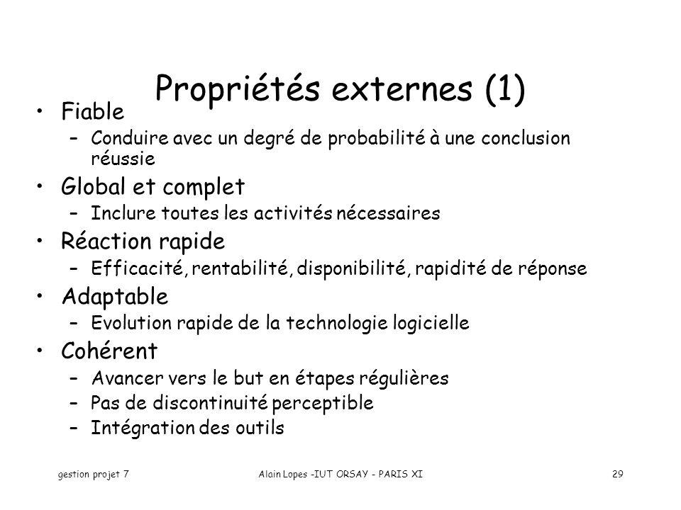 gestion projet 7Alain Lopes -IUT ORSAY - PARIS XI29 Fiable –Conduire avec un degré de probabilité à une conclusion réussie Global et complet –Inclure