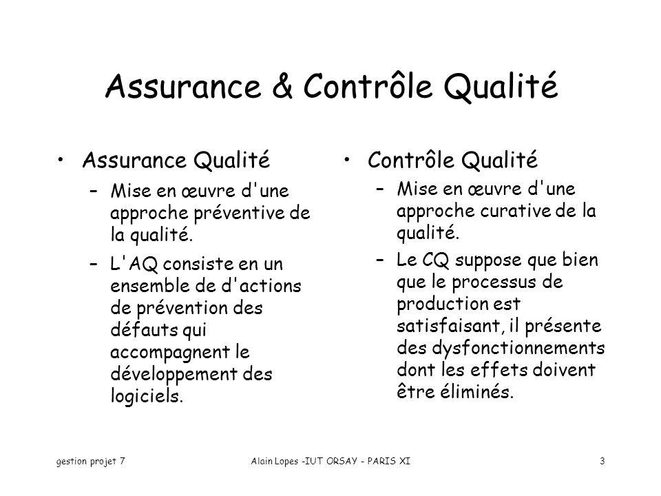 gestion projet 7Alain Lopes -IUT ORSAY - PARIS XI3 Assurance & Contrôle Qualité Assurance Qualité –Mise en œuvre d'une approche préventive de la quali