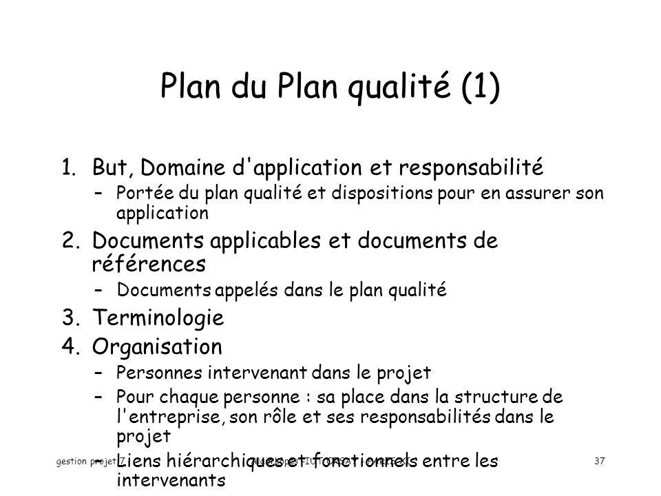 gestion projet 7Alain Lopes -IUT ORSAY - PARIS XI37 1.But, Domaine d'application et responsabilité –Portée du plan qualité et dispositions pour en ass