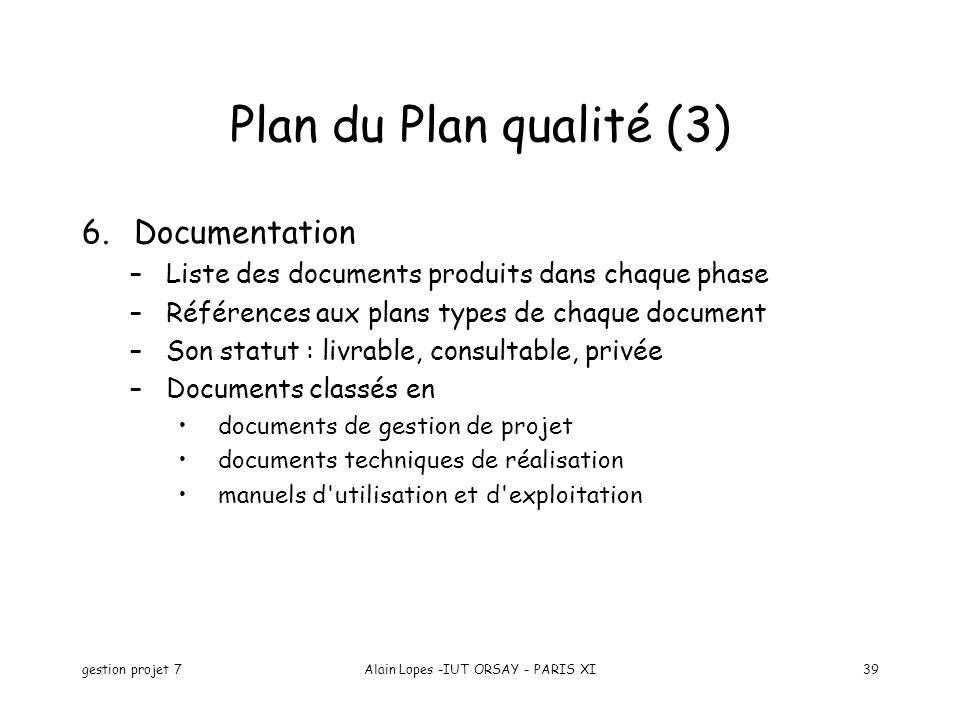 gestion projet 7Alain Lopes -IUT ORSAY - PARIS XI39 6.Documentation –Liste des documents produits dans chaque phase –Références aux plans types de cha