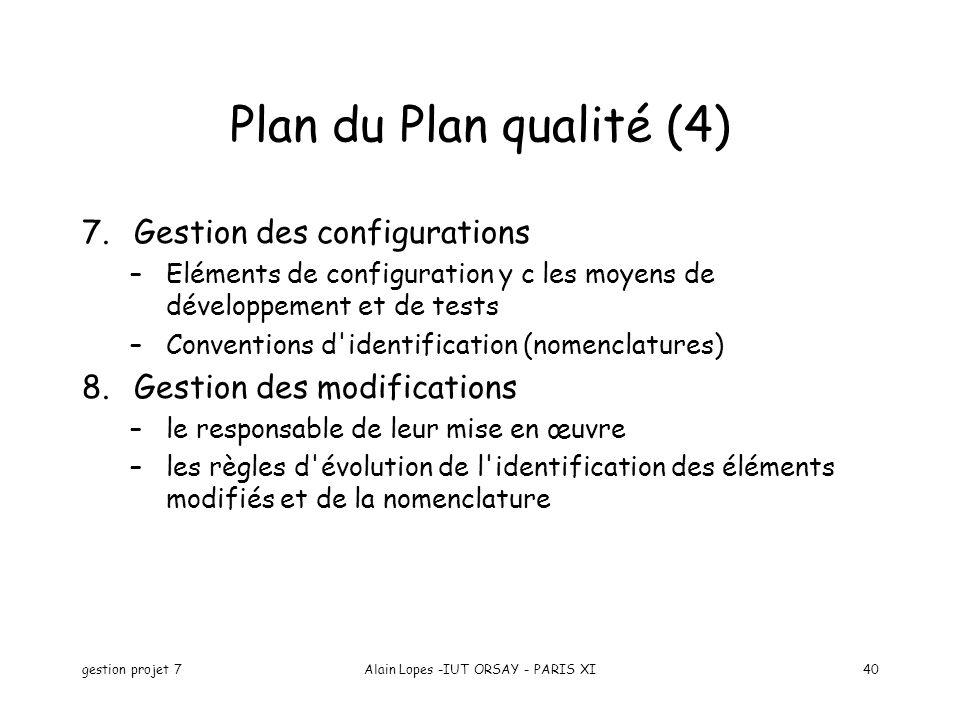 gestion projet 7Alain Lopes -IUT ORSAY - PARIS XI40 7.Gestion des configurations –Eléments de configuration y c les moyens de développement et de test