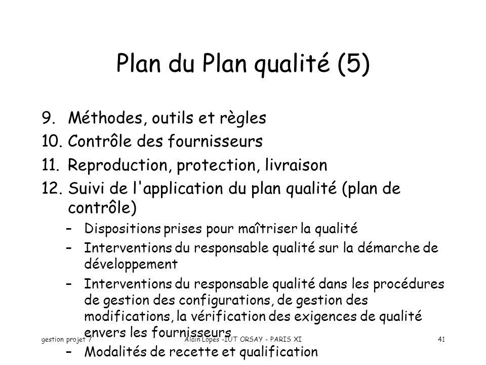 gestion projet 7Alain Lopes -IUT ORSAY - PARIS XI41 9.Méthodes, outils et règles 10.Contrôle des fournisseurs 11.Reproduction, protection, livraison 1