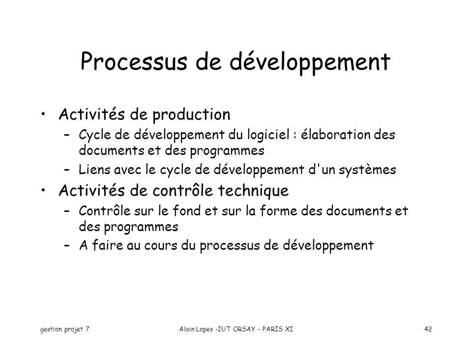 gestion projet 7Alain Lopes -IUT ORSAY - PARIS XI42 Processus de développement Activités de production –Cycle de développement du logiciel : élaborati