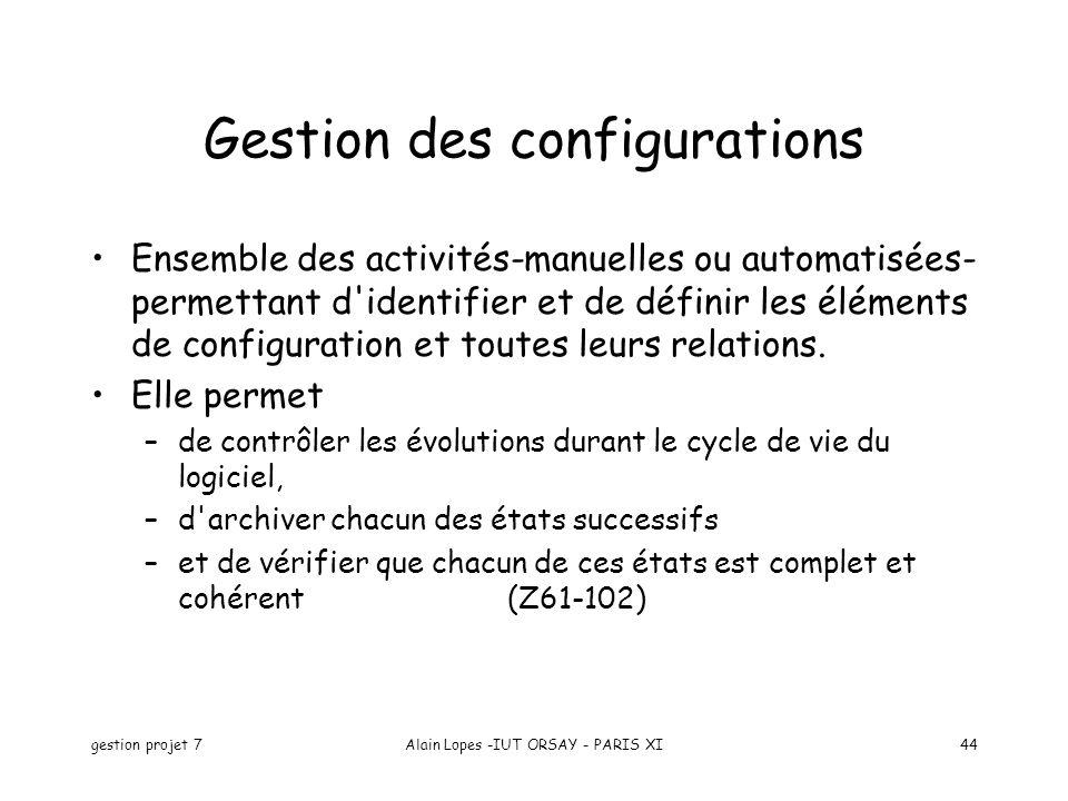 gestion projet 7Alain Lopes -IUT ORSAY - PARIS XI44 Ensemble des activités-manuelles ou automatisées- permettant d'identifier et de définir les élémen
