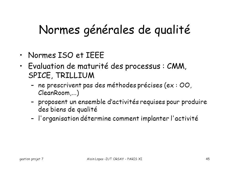 gestion projet 7Alain Lopes -IUT ORSAY - PARIS XI45 Normes générales de qualité Normes ISO et IEEE Evaluation de maturité des processus : CMM, SPICE,