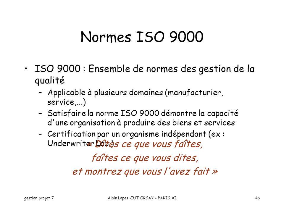 gestion projet 7Alain Lopes -IUT ORSAY - PARIS XI46 Normes ISO 9000 ISO 9000 : Ensemble de normes des gestion de la qualité –Applicable à plusieurs domaines (manufacturier, service,...) –Satisfaire la norme ISO 9000 démontre la capacité d une organisation à produire des biens et services –Certification par un organisme indépendant (ex : Underwriter Lab.) « Dîtes ce que vous faîtes, faîtes ce que vous dites, et montrez que vous l avez fait »