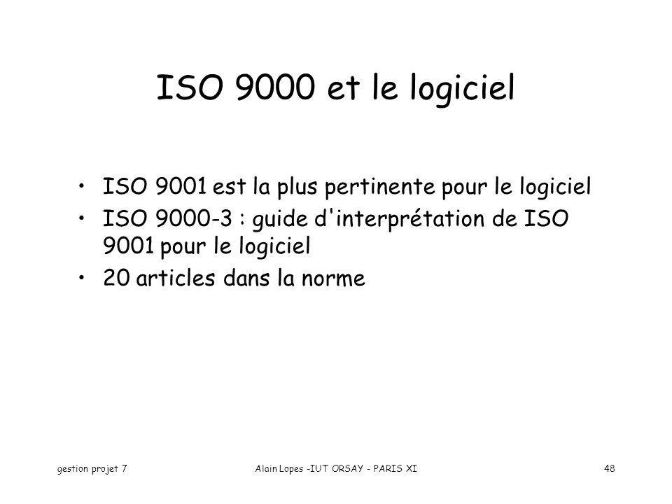 gestion projet 7Alain Lopes -IUT ORSAY - PARIS XI48 ISO 9000 et le logiciel ISO 9001 est la plus pertinente pour le logiciel ISO 9000-3 : guide d interprétation de ISO 9001 pour le logiciel 20 articles dans la norme