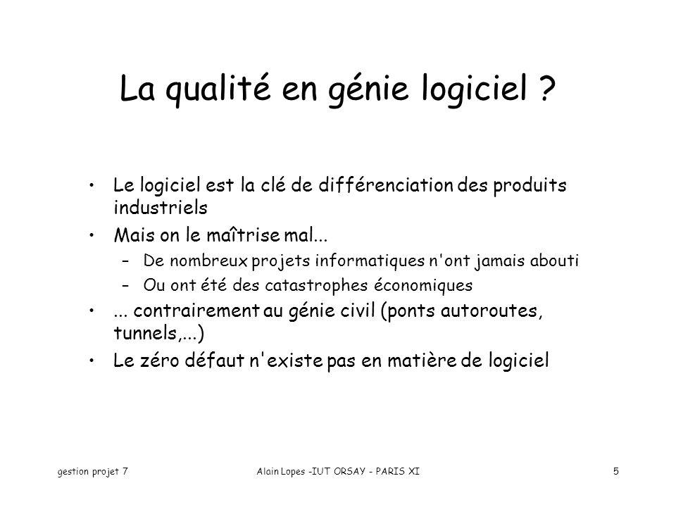 gestion projet 7Alain Lopes -IUT ORSAY - PARIS XI5 La qualité en génie logiciel ? Le logiciel est la clé de différenciation des produits industriels M