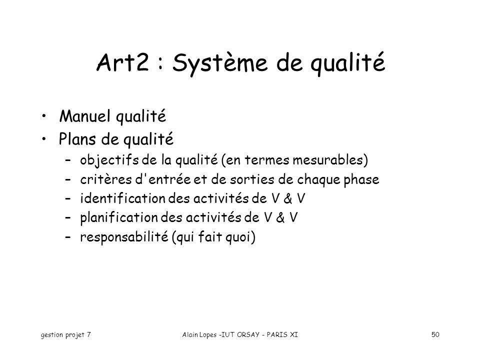 gestion projet 7Alain Lopes -IUT ORSAY - PARIS XI50 Art2 : Système de qualité Manuel qualité Plans de qualité –objectifs de la qualité (en termes mesu