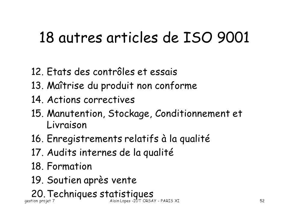 gestion projet 7Alain Lopes -IUT ORSAY - PARIS XI52 12.Etats des contrôles et essais 13.Maîtrise du produit non conforme 14.Actions correctives 15.Manutention, Stockage, Conditionnement et Livraison 16.Enregistrements relatifs à la qualité 17.Audits internes de la qualité 18.Formation 19.Soutien après vente 20.Techniques statistiques 18 autres articles de ISO 9001