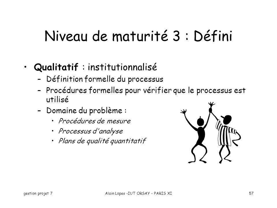 gestion projet 7Alain Lopes -IUT ORSAY - PARIS XI57 Niveau de maturité 3 : Défini Qualitatif : institutionnalisé –Définition formelle du processus –Procédures formelles pour vérifier que le processus est utilisé –Domaine du problème : Procédures de mesure Processus d analyse Plans de qualité quantitatif