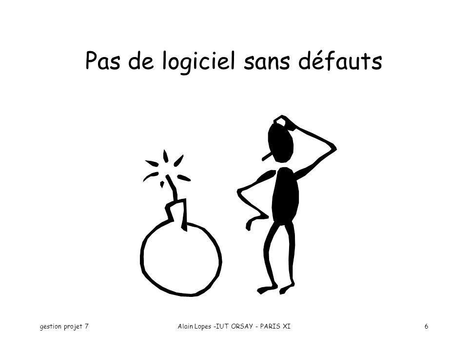 gestion projet 7Alain Lopes -IUT ORSAY - PARIS XI7 Définition de la qualité La qualité, cest : –ce qui fait qu une chose est plus ou moins recommandable –le degré plus ou moins élevé d une échelle de valeurs pratique (Le Petit Robert)