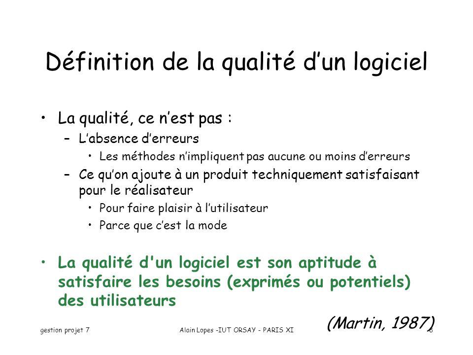 gestion projet 7Alain Lopes -IUT ORSAY - PARIS XI8 Définition de la qualité dun logiciel La qualité, ce nest pas : –Labsence derreurs Les méthodes nim