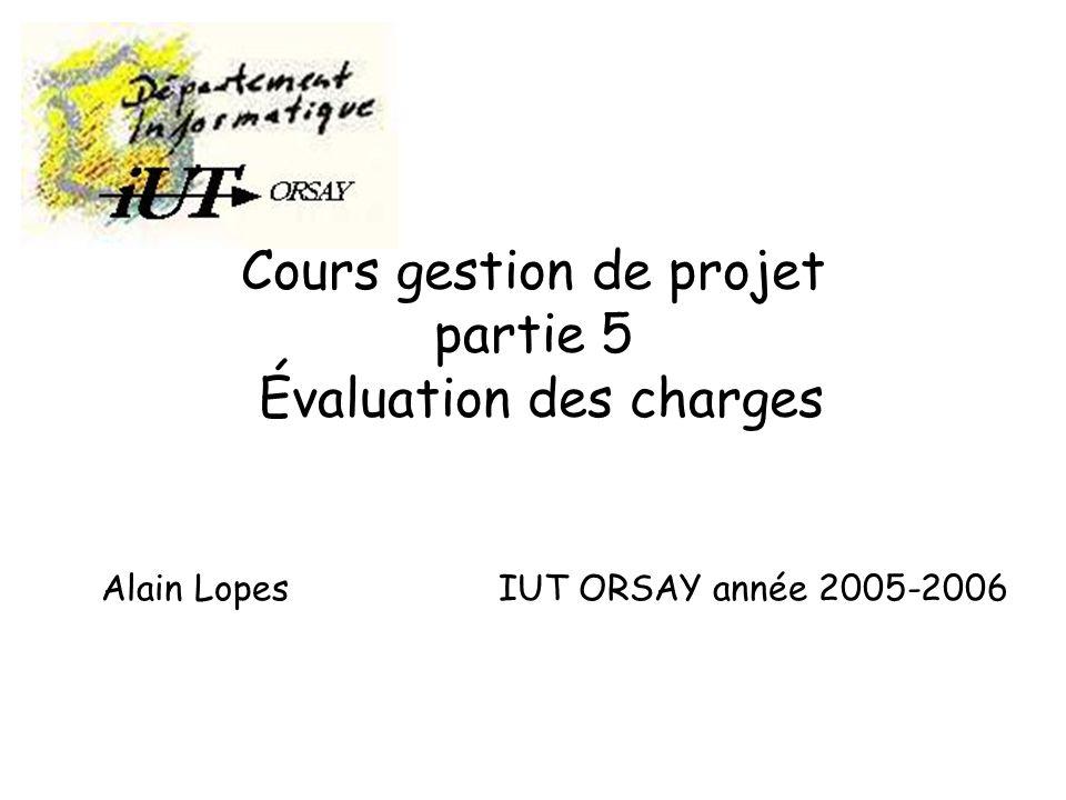 Cours gestion de projet partie 5 Évaluation des charges Alain Lopes IUT ORSAY année 2005-2006