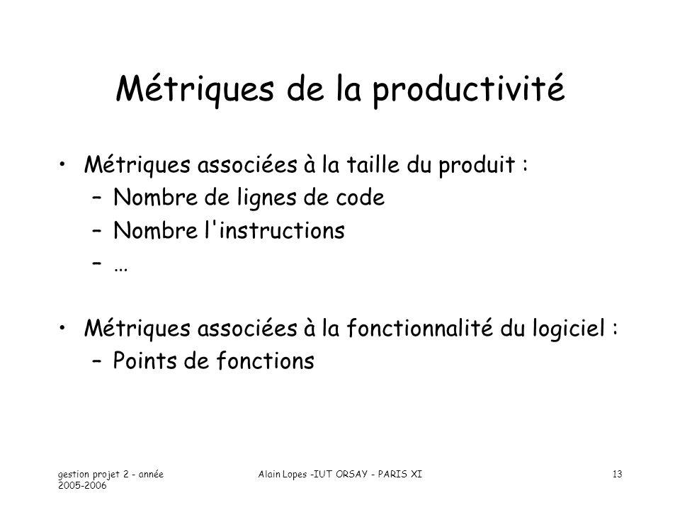 gestion projet 2 - année 2005-2006 Alain Lopes -IUT ORSAY - PARIS XI13 Métriques de la productivité Métriques associées à la taille du produit : –Nomb