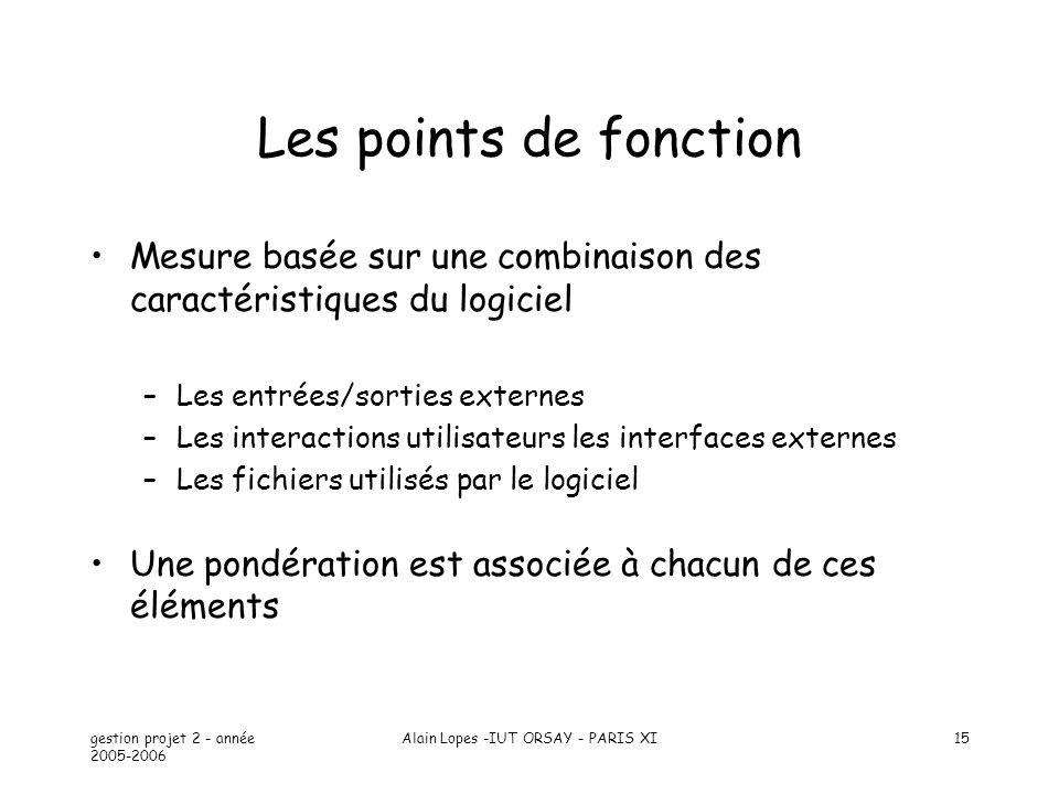 gestion projet 2 - année 2005-2006 Alain Lopes -IUT ORSAY - PARIS XI15 Les points de fonction Mesure basée sur une combinaison des caractéristiques du