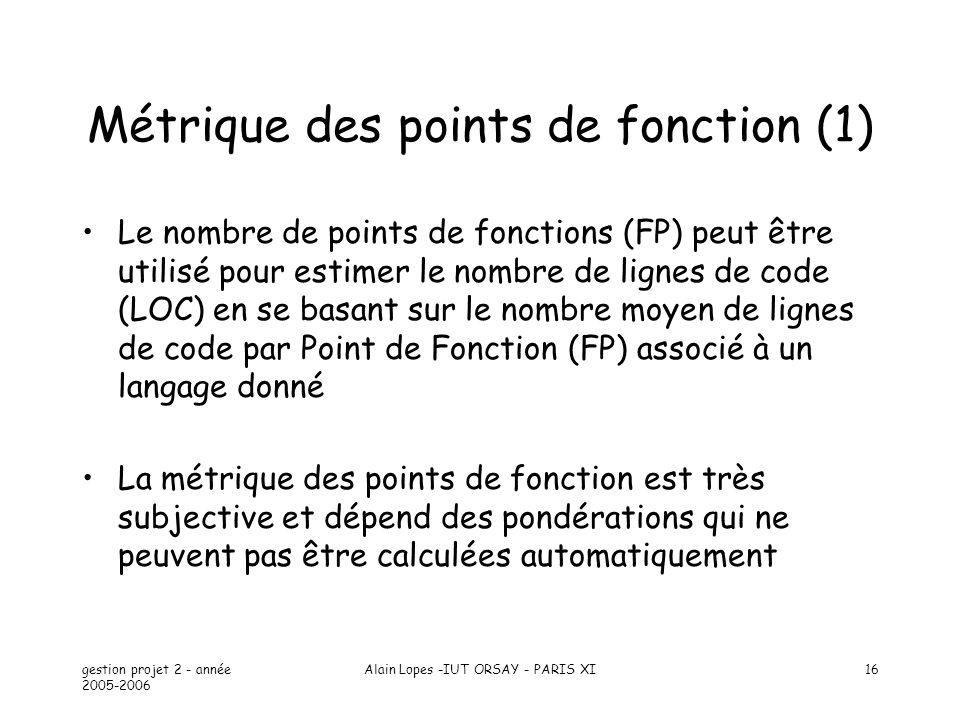 gestion projet 2 - année 2005-2006 Alain Lopes -IUT ORSAY - PARIS XI16 Métrique des points de fonction (1) Le nombre de points de fonctions (FP) peut