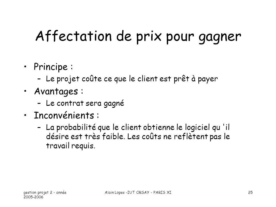 gestion projet 2 - année 2005-2006 Alain Lopes -IUT ORSAY - PARIS XI25 Affectation de prix pour gagner Principe : –Le projet coûte ce que le client es