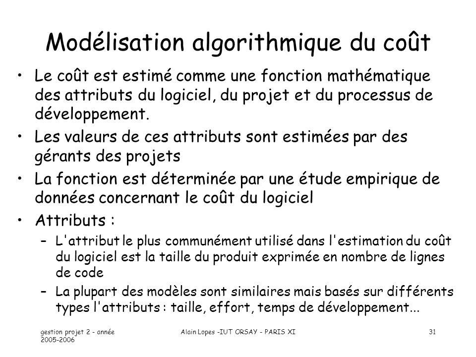 gestion projet 2 - année 2005-2006 Alain Lopes -IUT ORSAY - PARIS XI31 Modélisation algorithmique du coût Le coût est estimé comme une fonction mathém