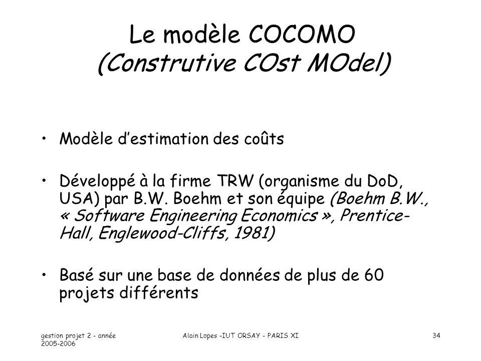 gestion projet 2 - année 2005-2006 Alain Lopes -IUT ORSAY - PARIS XI34 Le modèle COCOMO (Construtive COst MOdel) Modèle destimation des coûts Développ