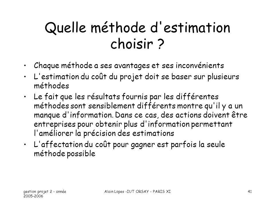 gestion projet 2 - année 2005-2006 Alain Lopes -IUT ORSAY - PARIS XI41 Quelle méthode d'estimation choisir ? Chaque méthode a ses avantages et ses inc