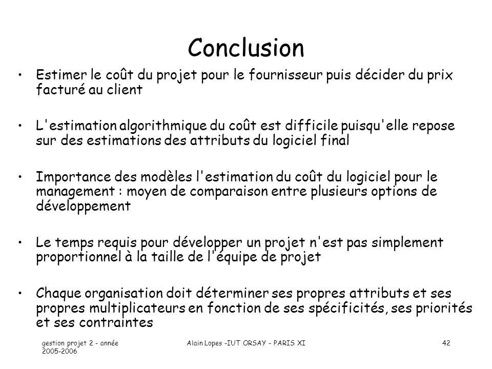 gestion projet 2 - année 2005-2006 Alain Lopes -IUT ORSAY - PARIS XI42 Conclusion Estimer le coût du projet pour le fournisseur puis décider du prix f
