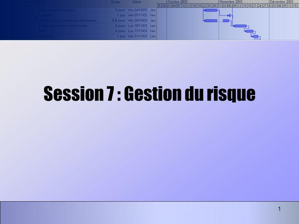 1 Session 7 : Gestion du risque