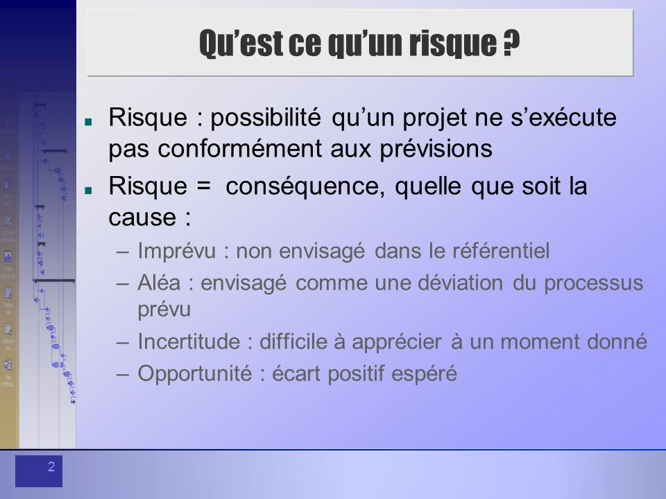 2 Quest ce quun risque ? Risque : possibilité quun projet ne sexécute pas conformément aux prévisions Risque = conséquence, quelle que soit la cause :