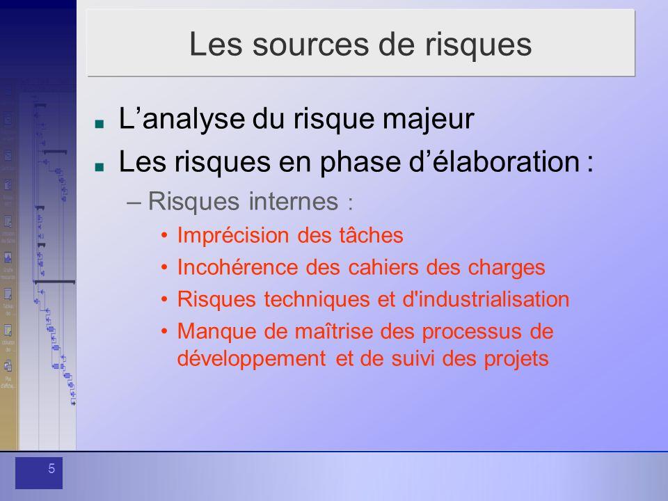 5 Les sources de risques Lanalyse du risque majeur Les risques en phase délaboration : –Risques internes : Imprécision des tâches Incohérence des cahi