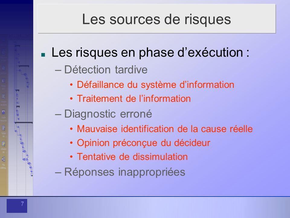 8 Les sources de risque Les risques en phase dexécution : –Réponses inappropriées Recherche dun bouc émissaire Volonté de temporiser Excès de procédure Urgence de la décision à prendre